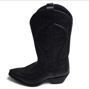 New Laredo Black Goat Bucklace Cowboy Boots Sz 8EW